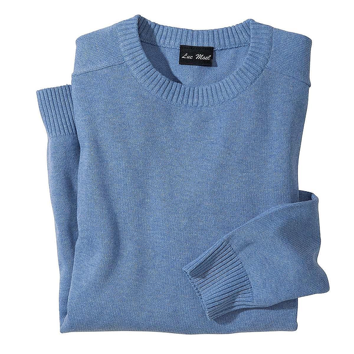 Baumwoll Pullover Farbe Hellblau Größenspezialist Männermode