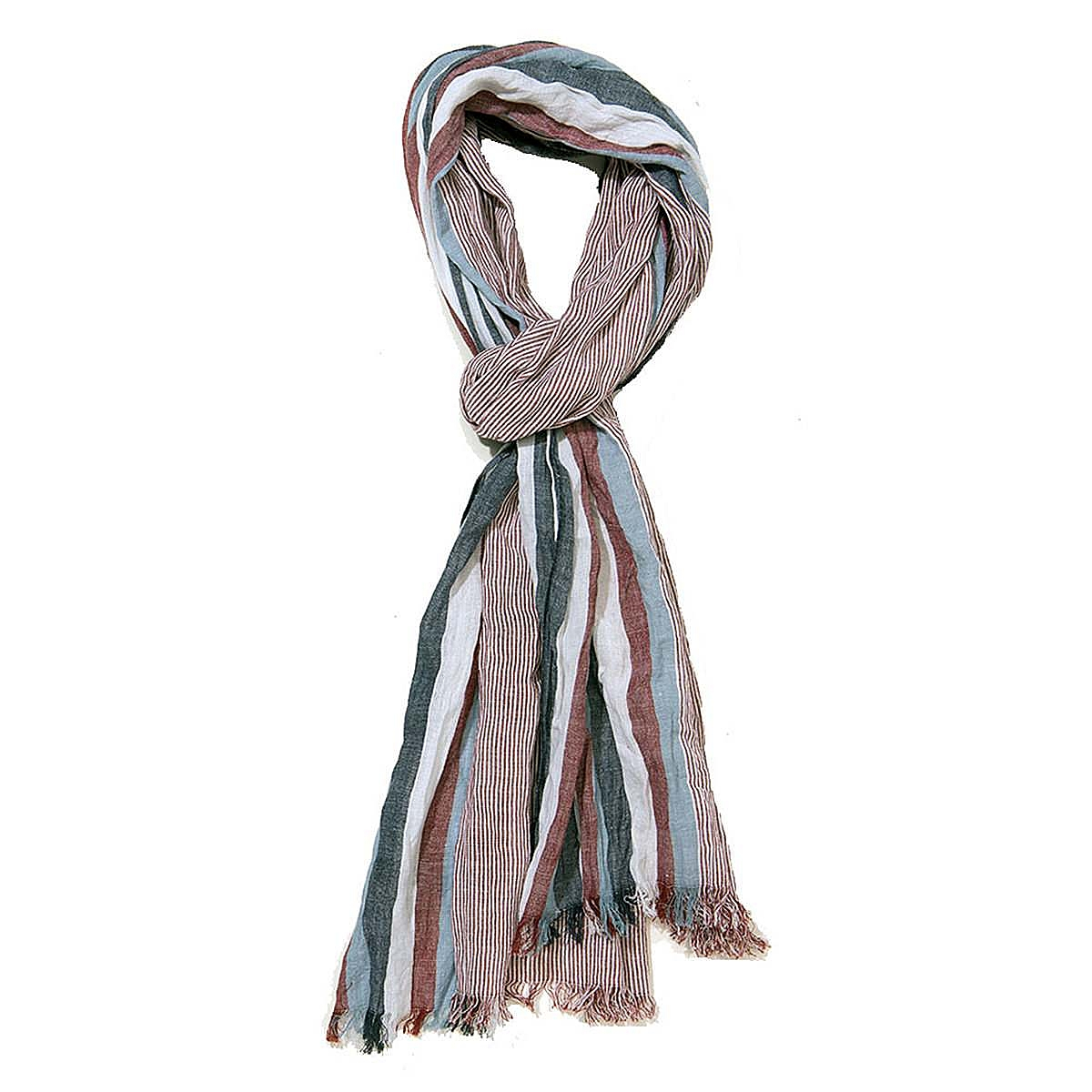 Casa Moda | Leichter Baumwoll Schal gestreift | Farbe rot blau ...