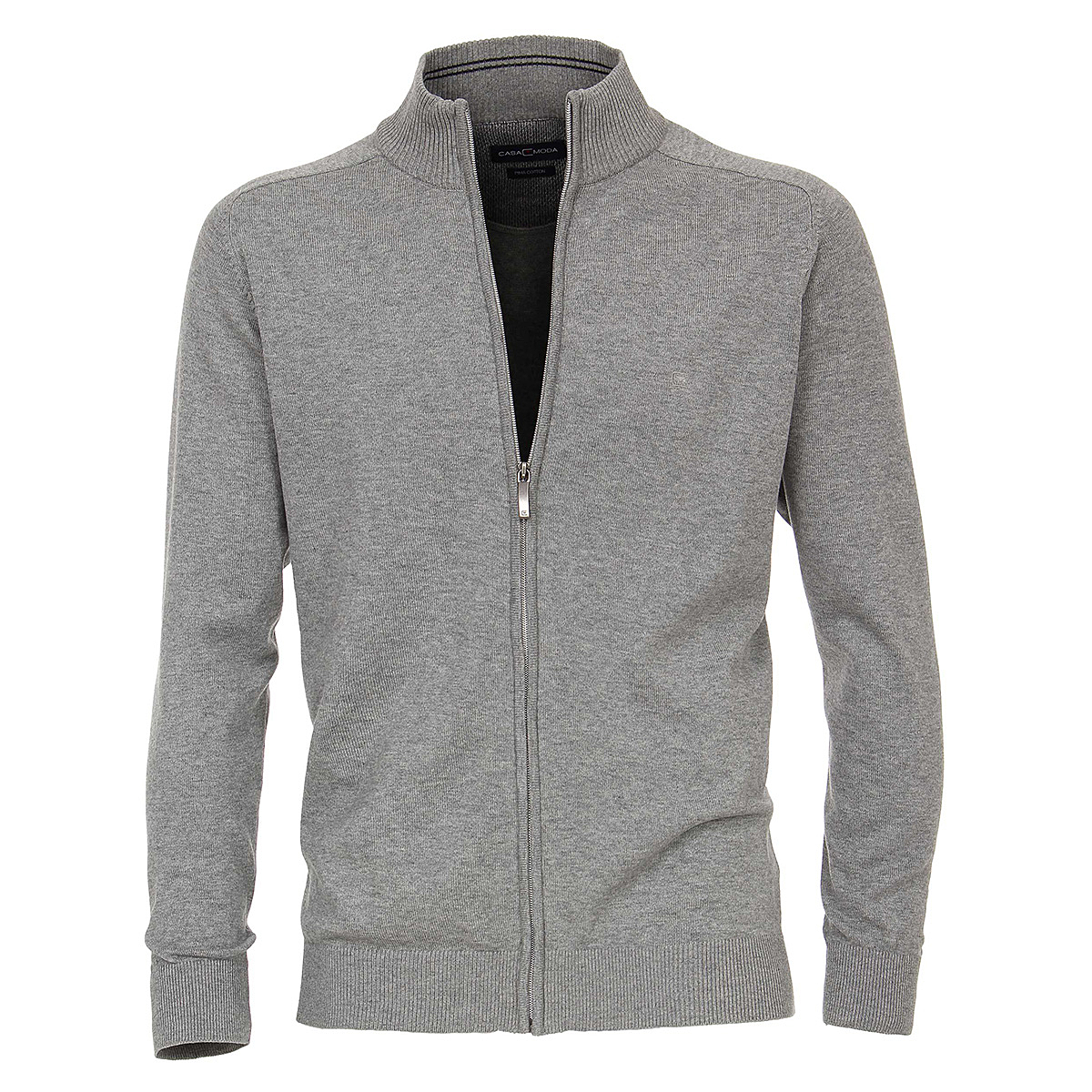 modernes Design Markenqualität um 50 Prozent reduziert Casa Moda | Strickjacke | Cardigan mit Reißverschluss | Reine Baumwolle,  mit Zipper | Farbe grau