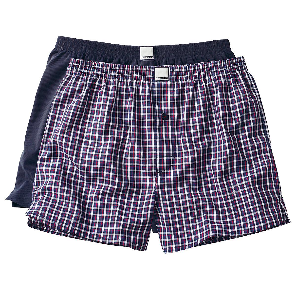 ecd6e6770715d Ceceba | Web-Shorts 2er Pack | Boxer Shorts Baumwolle | Blau Karo