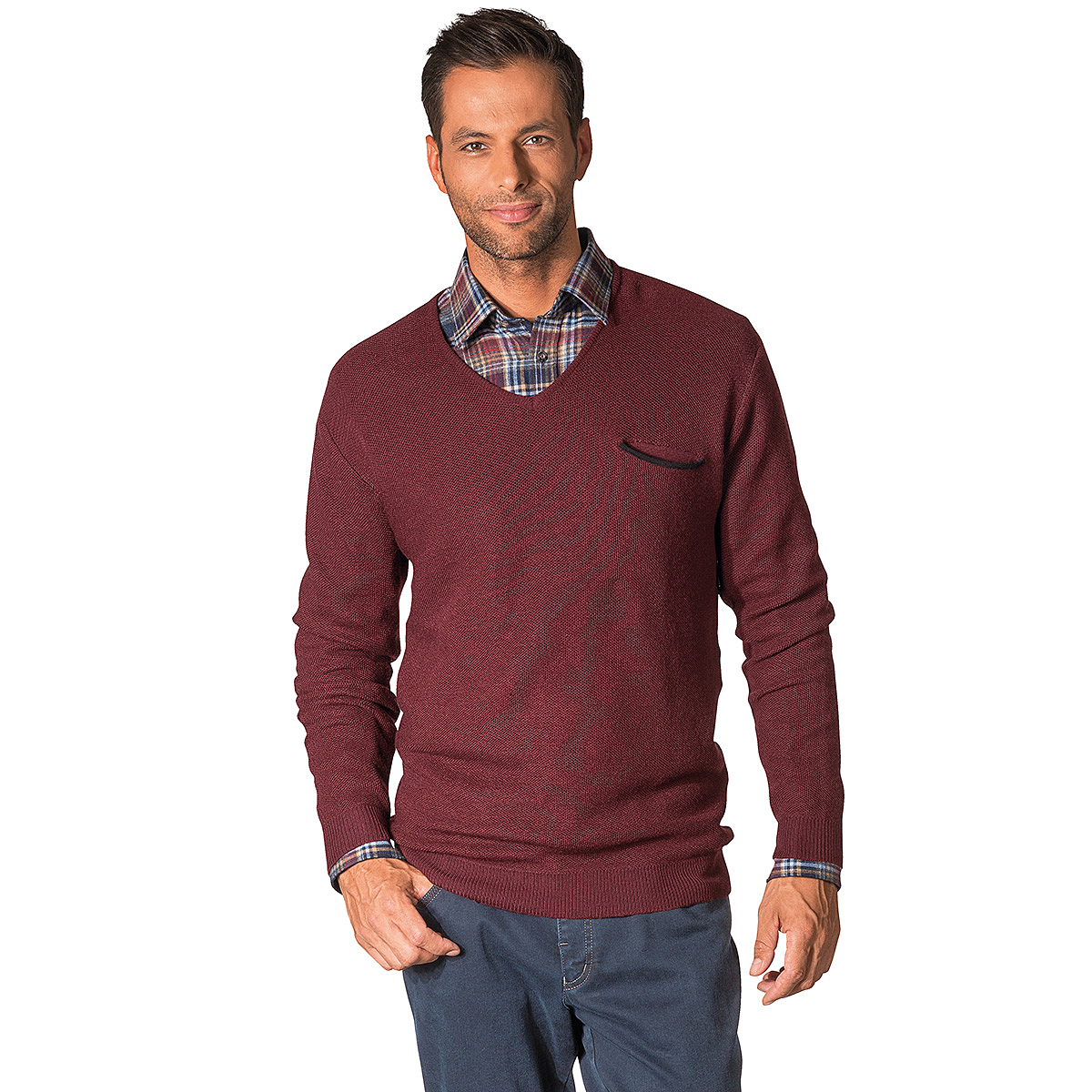 kimmich struktur pullover v ausschnitt farbe burgund gr enspezialist m nnermode. Black Bedroom Furniture Sets. Home Design Ideas