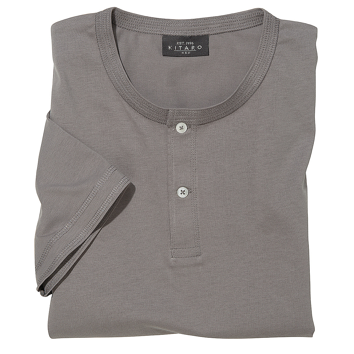 kitaro t shirt mit knopfleiste serafino farbe asphaltgrau gr enspezialist m nnermode. Black Bedroom Furniture Sets. Home Design Ideas