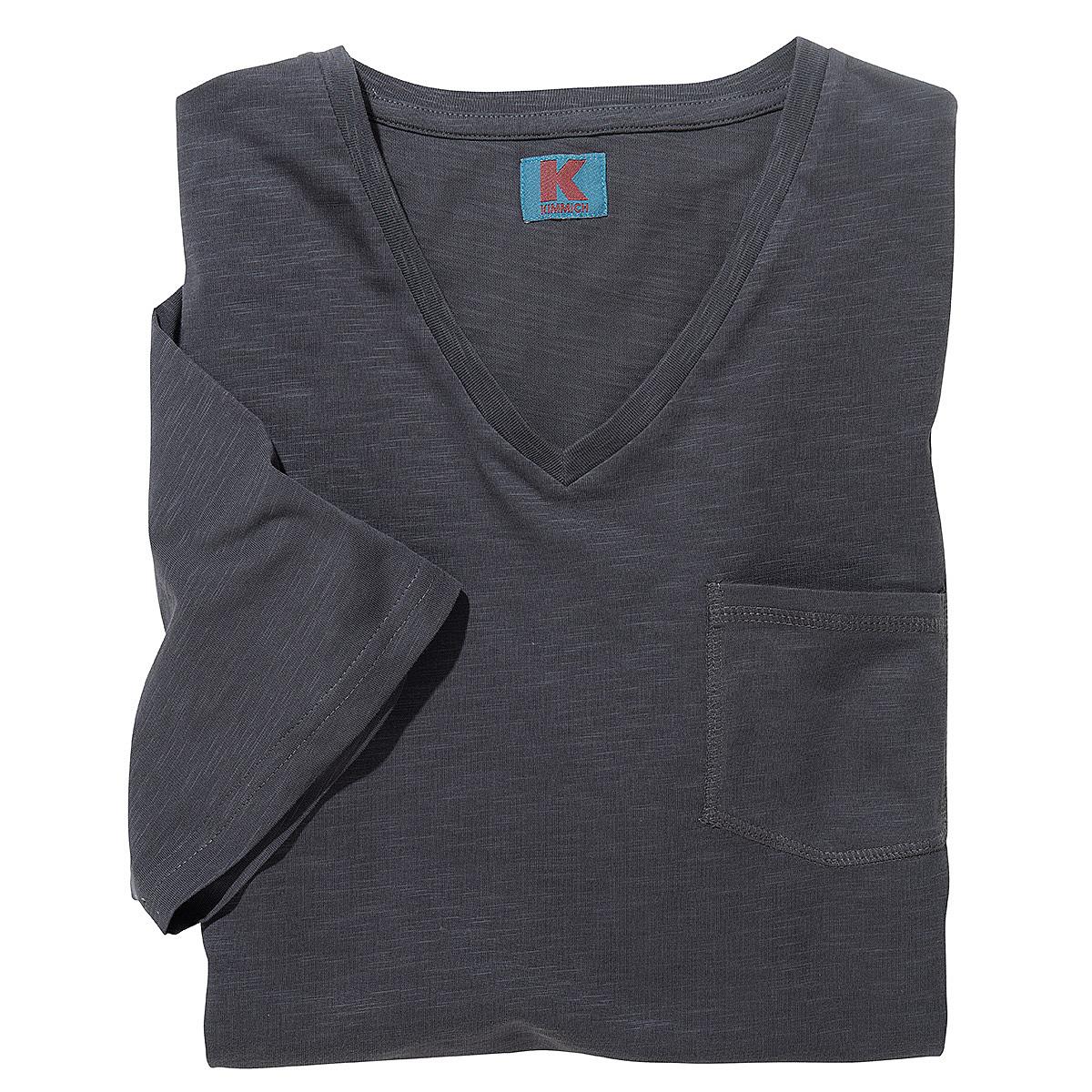 t shirt mit v ausschnitt und brusttasche flamm garn baumwolle farbe anthrazit. Black Bedroom Furniture Sets. Home Design Ideas
