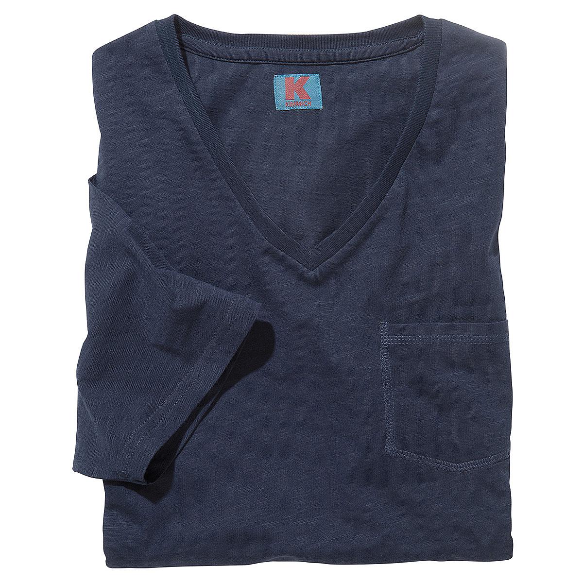 t shirt mit v ausschnitt und brusttasche flamm garn baumwolle farbe marine. Black Bedroom Furniture Sets. Home Design Ideas