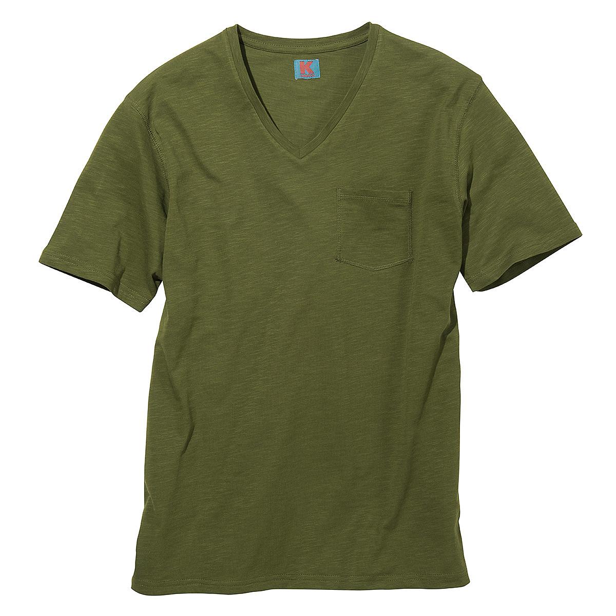 t shirt mit v ausschnitt und brusttasche flamm garn baumwolle farbe oliv gr enspezialist. Black Bedroom Furniture Sets. Home Design Ideas