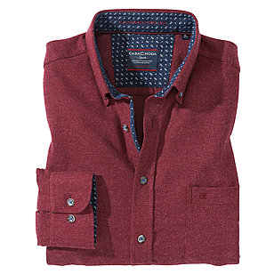 Casa Moda | Baumwoll-Hemd Cashmere Feeling | Button-down Kragen | Bordeaux