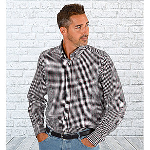 Casa Moda | Langarmhemd Club | Button-down-Kragen | Schwarz Weiß Bordeaux