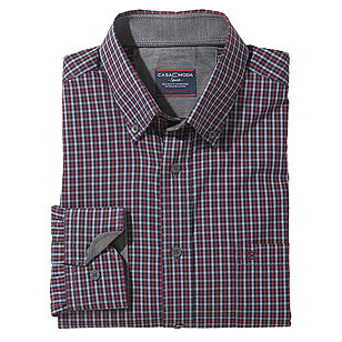 Casa Moda | Sportives Langarmhemd | Button-down-Kragen | Grau Bordeaux
