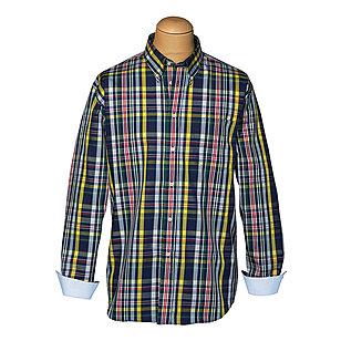 Langarm-Sport-Hemd | Button-Down-Kragen | Multicolour / Karo