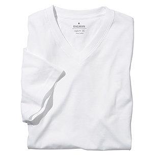 innovative design b26f4 4f7b6 Ragman | T-Shirt Doppelpack, Baumwolle | V-Ausschnitt | Farbe weiß