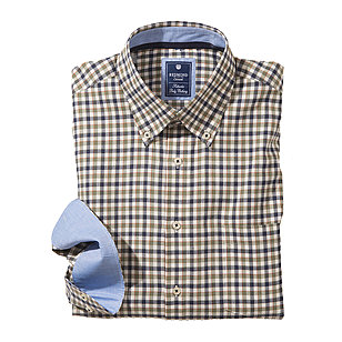 Redmond | Karo-Twill Hemd | Button down Kragen | Grün