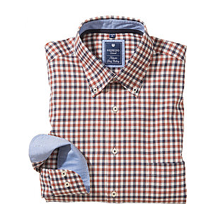 Redmond | Karo-Twill Hemd | Button down Kragen | Kupfer
